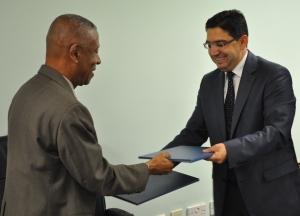 Prime Minister Thomas and the Morroccan government representative H.E Bourita